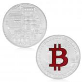 Bitcoin Münze Rot/ Silber