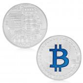 Bitcoin Münze Blau/ Silber